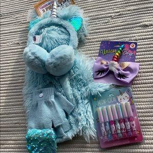 Girls Unicorn Set Winter Bundle - Bow, Gloss, 3pc